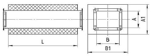 Шумоглушитель трубчатый прямоугольный (длина 980мм) - 2